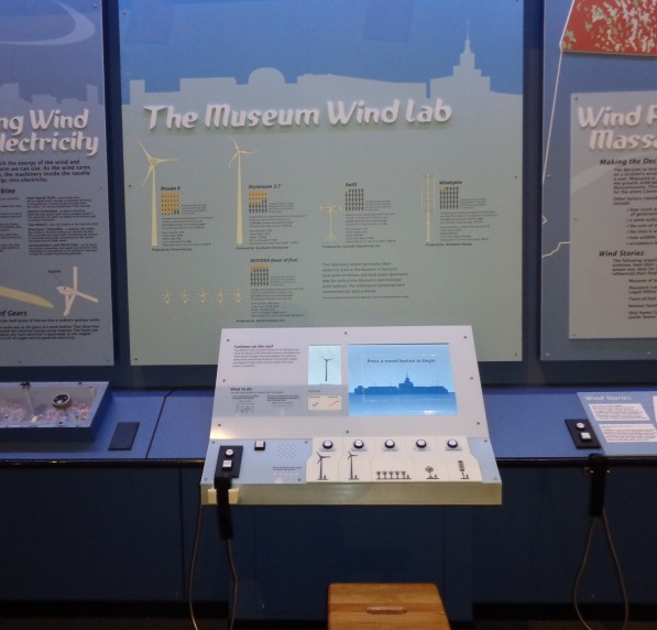 Exhibit component contains an informational label and an interactive computer touch screen